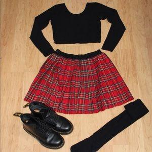 Red Plaid Pleated Skirt